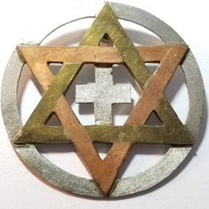 Vintage Star of David pendant silver copper brass